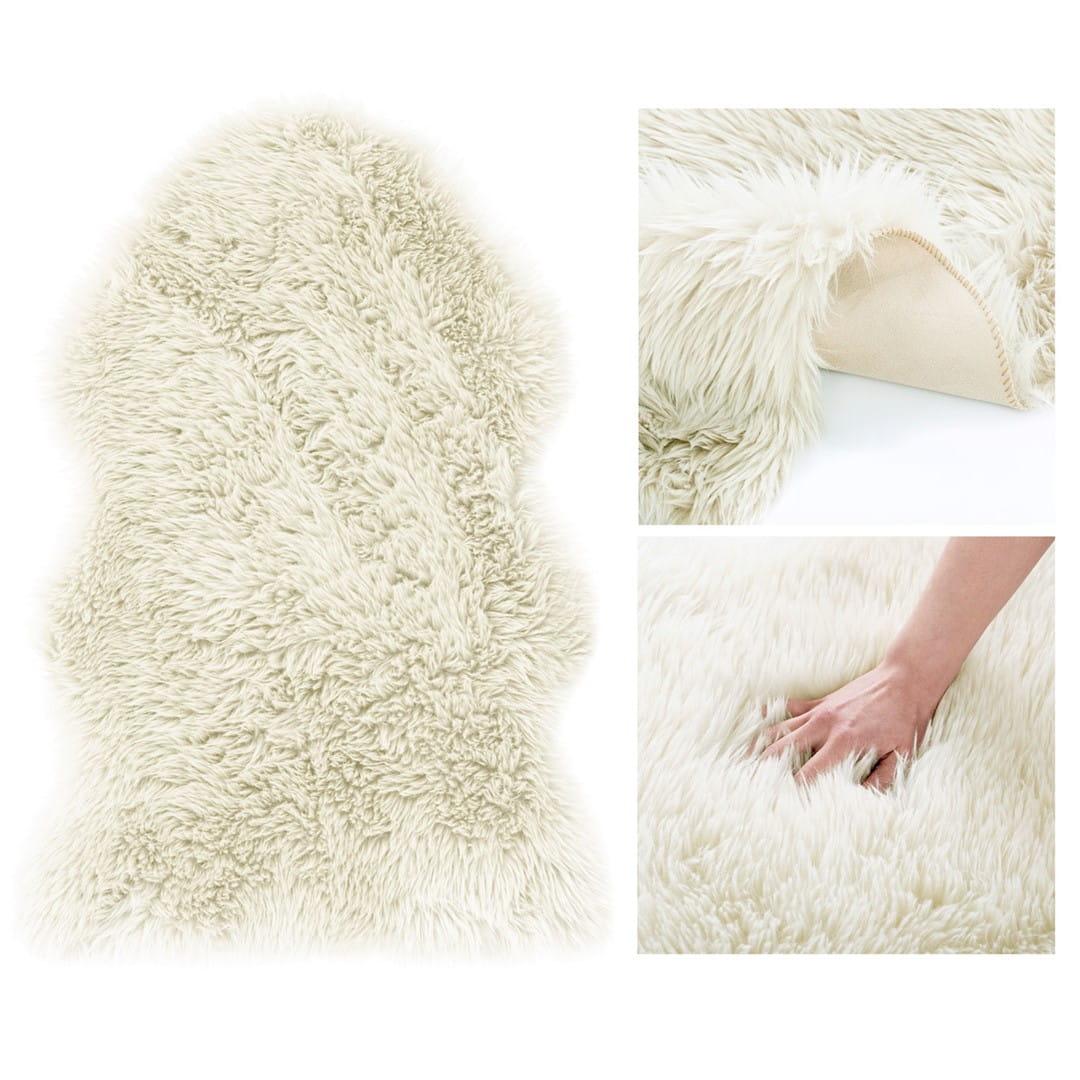 Dywan owieczka 60x90 włochacz shaggy Dokka gęsty kremowy