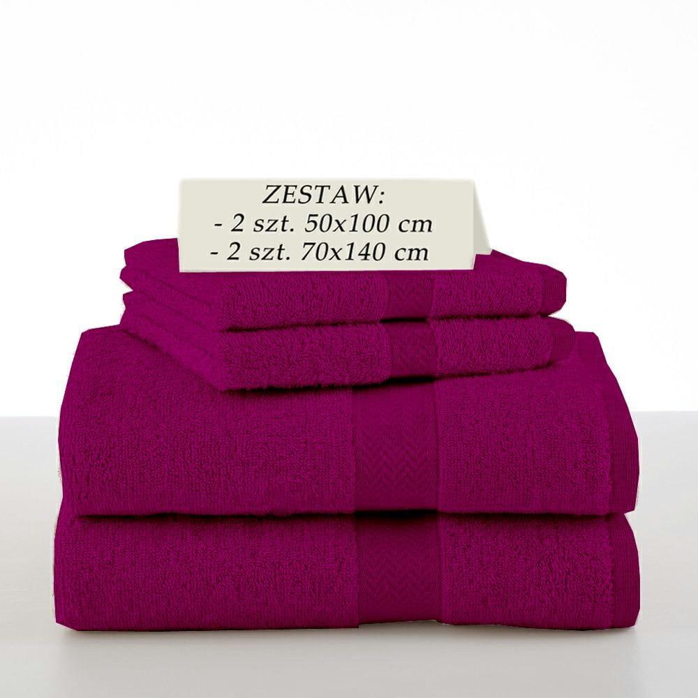 Komplet 4 ręczników kąpielowych Piruu 2x 70x140 i 2 x 50x100 bawełniane frotte fioletowe