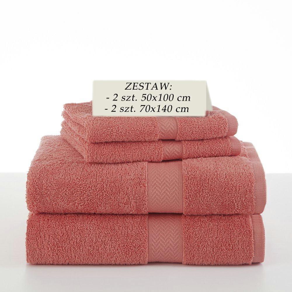 Komplet 4 ręczników kąpielowych Piruu 2x 70x140 i 2 x 50x100 bawełniane frotte koralowe